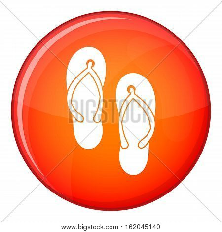 Beach thongs icon in red circle isolated on white background vector illustration