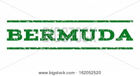Bermuda watermark stamp. Text caption between horizontal parallel lines with grunge design style. Rubber seal stamp with dust texture. Vector green color ink imprint on a white background.
