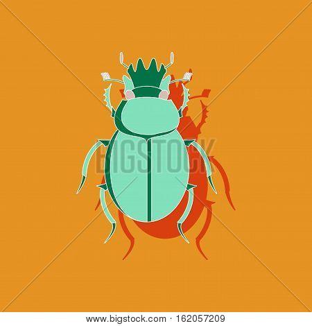 paper sticker on stylish background of scarab