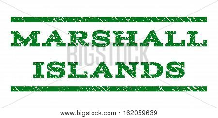 Marshall Islands watermark stamp. Text caption between horizontal parallel lines with grunge design style. Rubber seal stamp with unclean texture. Vector green color ink imprint on a white background.