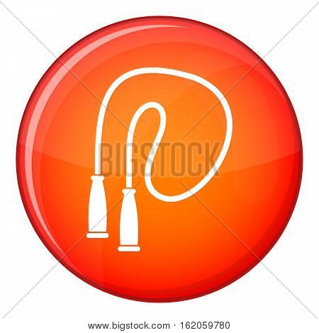 Skipping rope icon in red circle isolated on white background vector illustration