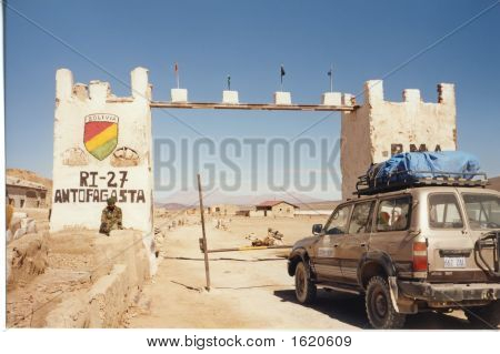 Military Post With A Four Wheels Jeep,  Uyuni Desert, Bolivia