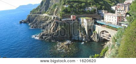 Railway Station Of Riomaggiore Village Over The Blue Sea, The Cinque Terre, Italia, Panorama