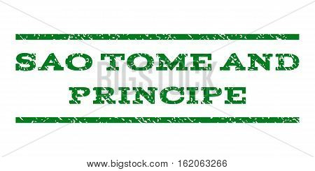 Sao Tome and Principe watermark stamp. Text caption between horizontal parallel lines with grunge design style. Rubber seal stamp with unclean texture.
