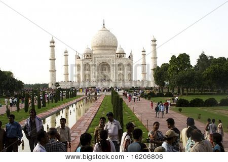 INDIA - JULY 28: Thousands of tourists visit daily the Taj Mahal mausoleum, the nation's largest, Taj Mahal Panorama at Agra, Uttar Pradesh, July 28, 2008 in Agra, India