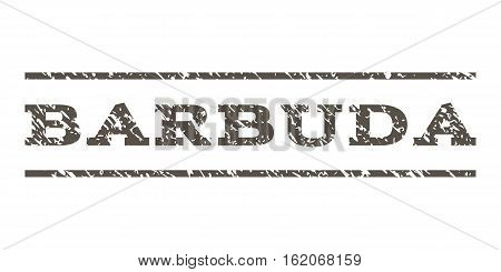 Barbuda watermark stamp. Text caption between horizontal parallel lines with grunge design style. Rubber seal stamp with unclean texture. Vector grey color ink imprint on a white background.