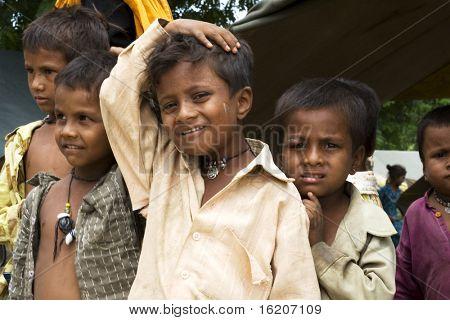 AGRA, INDIA - JUNE 19: Portrait of tribal children in a village in india, from Agra June 19, 2008 in Agra, India.