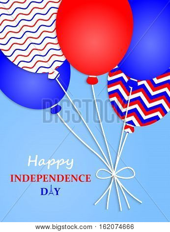 Happy Independence Day France.Vector Illustration. France Independence Day. Greeting Card. Flying Balloons in France National Colors. 14th July Bastille Day of France.