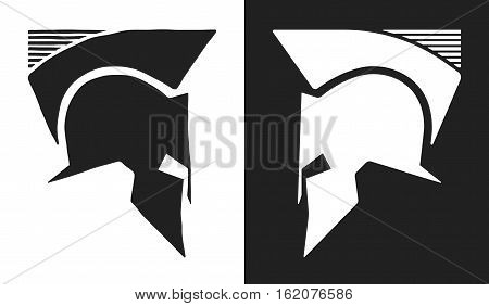 Spartan helmet logo. Roman or Greek symbol. Vector illustration.