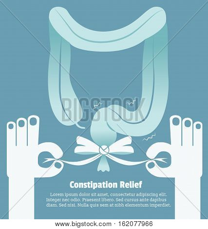 Constipation relief Sign and symbol, Vector illustration.