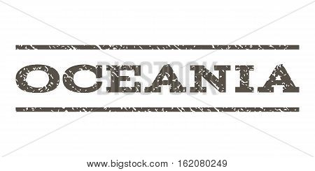 Oceania watermark stamp. Text tag between horizontal parallel lines with grunge design style. Rubber seal stamp with dirty texture. Vector grey color ink imprint on a white background.