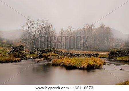 Misty morning at Slater's Bridge, Little Langdale