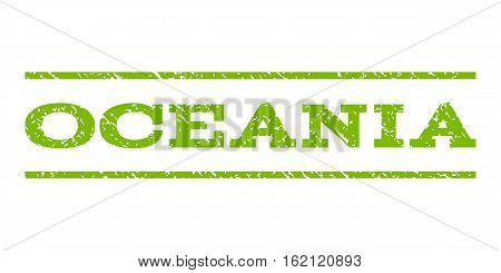 Oceania watermark stamp. Text tag between horizontal parallel lines with grunge design style. Rubber seal stamp with dust texture. Vector eco green color ink imprint on a white background.