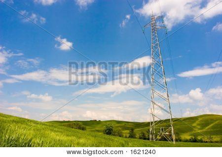 Powerline On Green Field