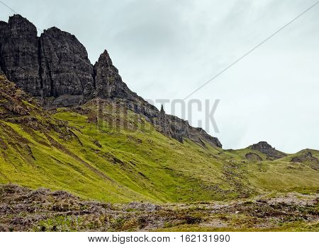 Distant view on the Old Man of Storr pinnacle on the Isle of Skye, Scotland