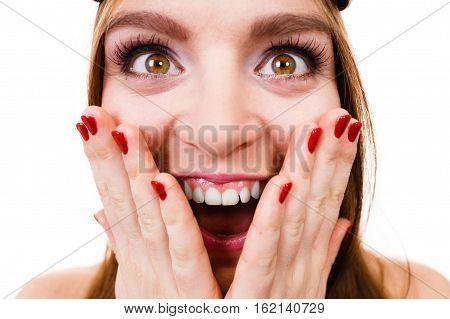 Crazy Close Up Of Woman Face