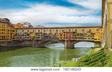 Ponte Vecchio over Arno river in Florence Italy