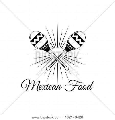 Maracas. Mexico Food. Traditional Mexican Cuisine Vector Illustration isolated on white background