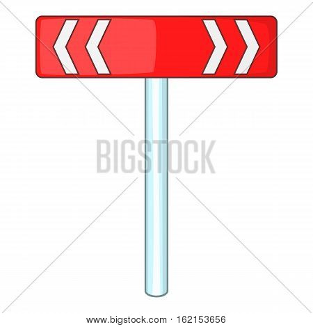 Red road sign direction pointer icon. Cartoon illustration of red road sign direction pointer vector icon for web