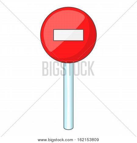 No entry traffic sign icon. Cartoon illustration of no entry traffic sign vector icon for web