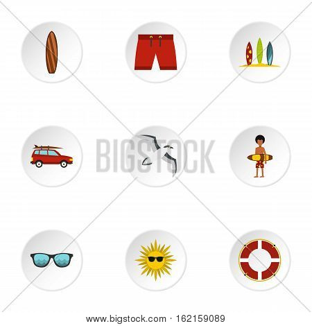 Swimming on surfboard icons set. Flat illustration of 9 swimming on surfboard vector icons for web