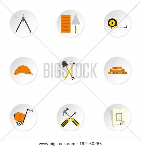 Building tools icons set. Flat illustration of 9 building tools vector icons for web