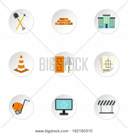 Construction tools icons set. Flat illustration of 9 construction tools vector icons for web
