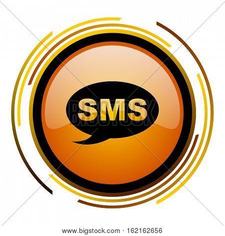 SMS orange glossy vector icon.