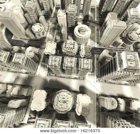 Dollars city. 3D illustration