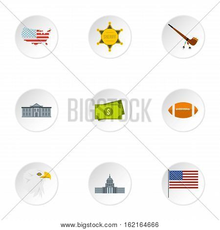 Attractions of USA icons set. Flat illustration of 9 attractions of USA vector icons for web