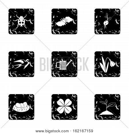 Tending garden icons set. Grunge illustration of 9 tending garden vector icons for web