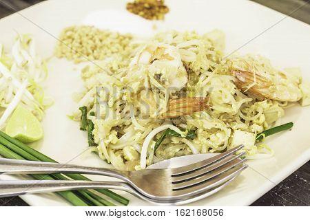 Thai food Pad thai Stir fry noodles in padthai style.