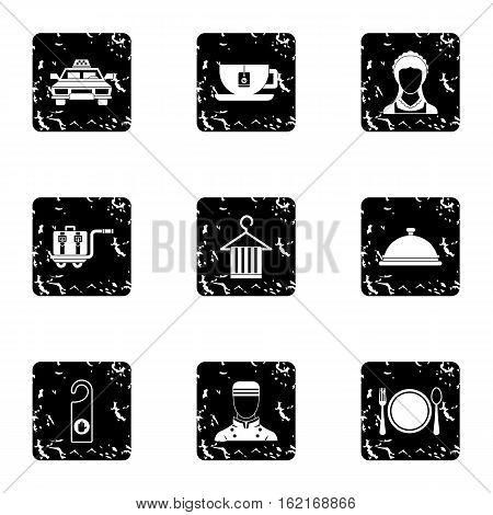 Hotel accommodation icons set. Grunge illustration of 9 hotel accommodation vector icons for web