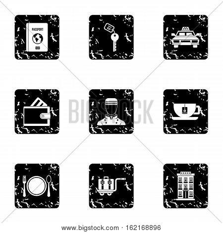 Hostel accommodation icons set. Grunge illustration of 9 hostel accommodation vector icons for web