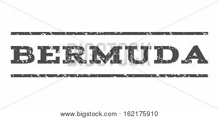 Bermuda watermark stamp. Text caption between horizontal parallel lines with grunge design style. Rubber seal stamp with unclean texture. Vector gray color ink imprint on a white background.