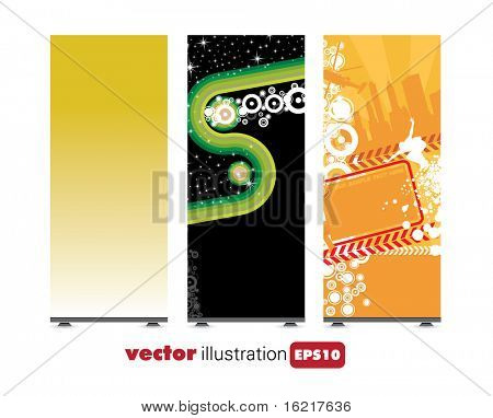 Roll-up with abstract background ready for use. Vector illustration.