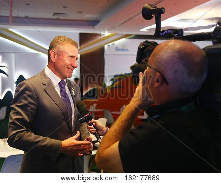 RIO DE JANEIRO, BRAZIL - AUGUST 9 , 2016: International Olympic Committee member and President of the National Olympic Committee of Ukraine Sergey Bubka during TV interview to Monaco TV in Rio de Janeiro