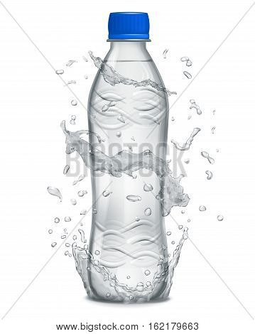 Water Splashes In Gray Colors Around A Plastic Bottle