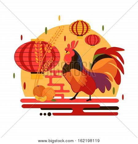 Chinese New Year 2017 rooster concept. Flat style iilustration with rooster mandarin and chinese lantern. Christmas and new year party concept design with bird and fruit.