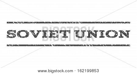 Soviet Union watermark stamp. Text caption between horizontal parallel lines with grunge design style. Rubber seal stamp with dirty texture. Vector gray color ink imprint on a white background.
