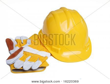 Hard hat with industrial gloves isolated against white background.