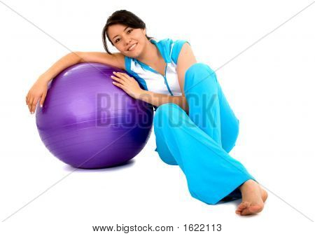 Casual Girl With A Pilates Ball