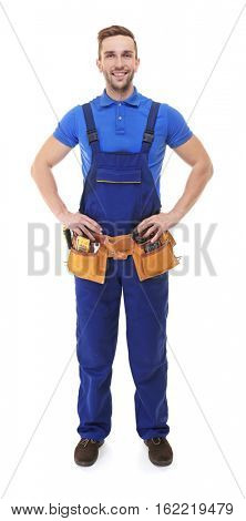 Plumber in blue uniform isolated on white