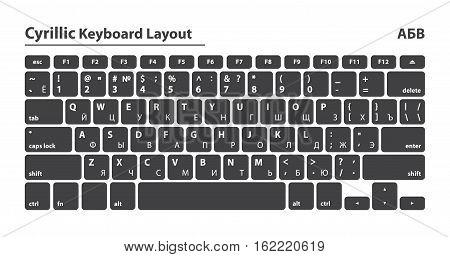 Cyrillic alphabet keyboard layout set - Isolated Vector Illustration