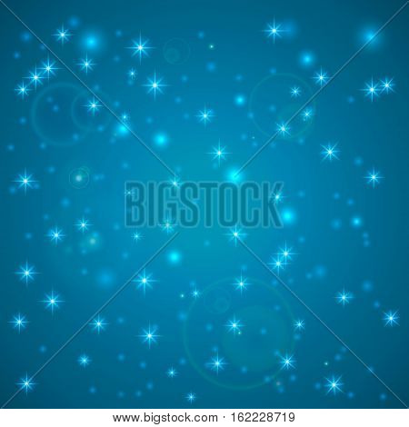 Blue Abstract background. Night sky with stars. Vector illustration. Falling snow. Abstract white glitter snowflake background. Magic Christmas eve snowfall