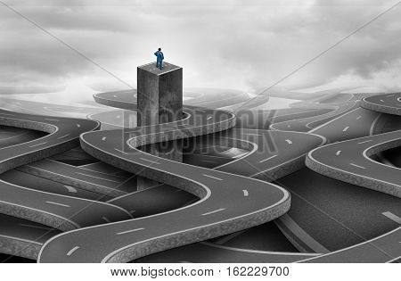 Concept of lost as a solitary businessman or individual person confused and confined from a group of tangled roads and highway paths as a metaphor for business confusion or being stranded with 3D illustration elements.