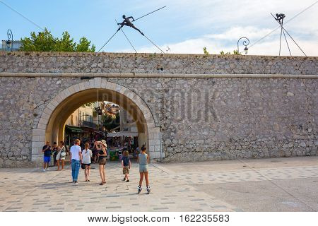 City Gate At The Historic City Wall In Antibes, France