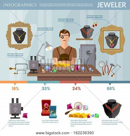 Professional jeweler infographics. Creation and sale of a jewelry earrings rings gems jeweler at work vector