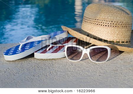 American vacation, sun hat, white sunglasses and flip flops,