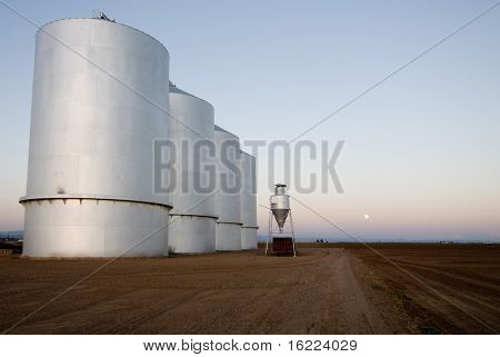 Large grain silos on farm land with sun setting.